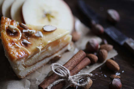 Delicious fresh pastry pie with cinnamon and fruit