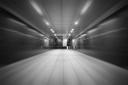 underground passage with lights on without people at night