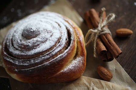 Delicious pastry with cinnamon and fruit