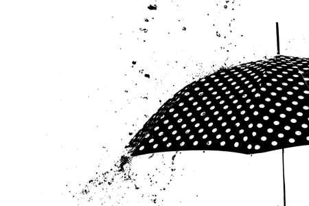 Rain drops on the umbrella isolated in white