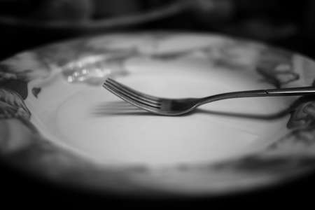 fork in plate black white