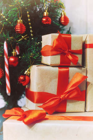 stack of gifts under a Christmas tree Stock Photo