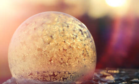 Soap bubbles freeze in the cold. Winter soapy water freezes in air.  Stock fotó