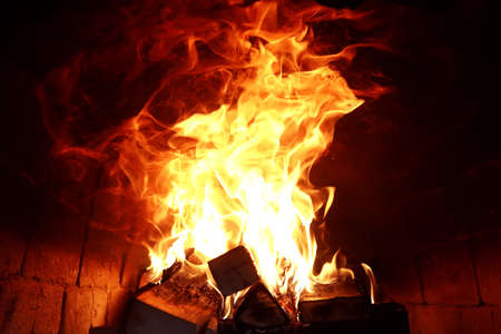 Long tongues of flame of burning fire Stock Photo