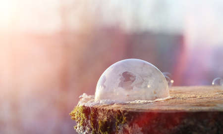 Soap bubbles freeze in the cold. Winter soapy water freezes Stock Photo