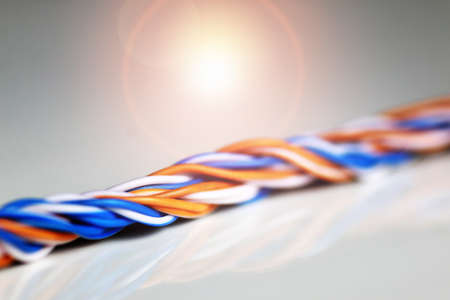 macro color braided wire Stock Photo
