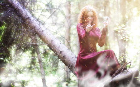 Witch ritual in a forest