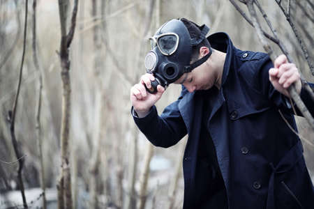 The guy in the coat and gas mask. Post-apocalyptic portrait of A