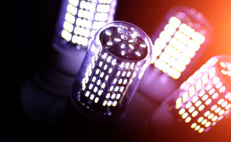 LED elements in the lamp. Lamps with diodes. Many bright lights Stock Photo
