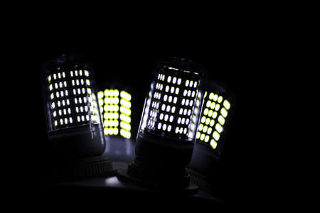 LED elements in the lamp. Lamps with diodes. Many bright lights from the diode lamp.