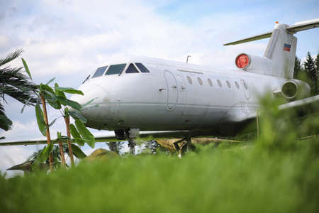 An old abandoned plane in the jungle Imagens