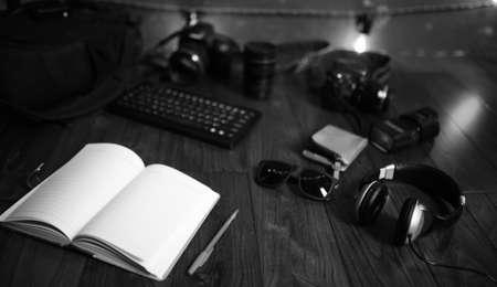 The photographers desk, digital camera accessories