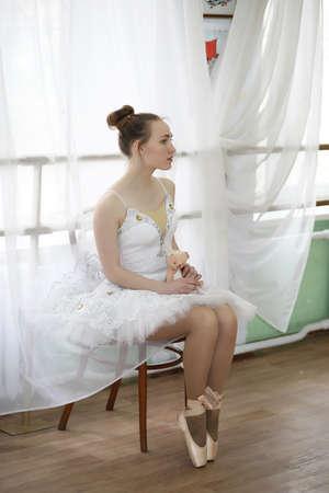 Pretty girl ballet dancer practicing Stock Photo