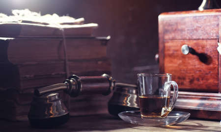 Brewing tea on a wooden table 写真素材