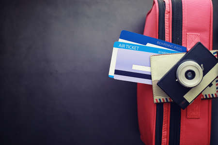 Travel concept. Travel bag with documents and tickets. 写真素材