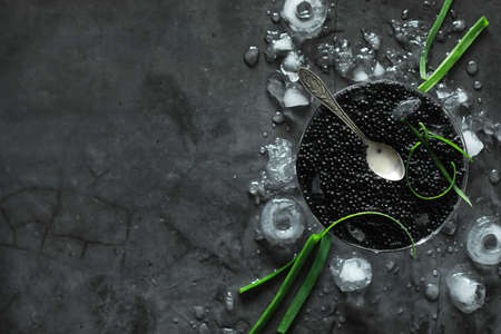 Fresh black fish roe. Beluga caviar served with ice with green.