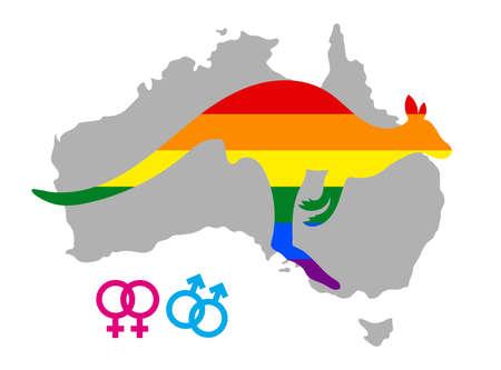 Lgbt flag in contour of Kangaroo. Same sex symbols. Rainbow flag in contour of Kangaroo. Contour of Australia continent. Vector illustration.