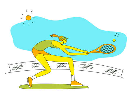 Girl playing tennis.Vector illustration in a flat style. Isolated on a white background. Sports concept.
