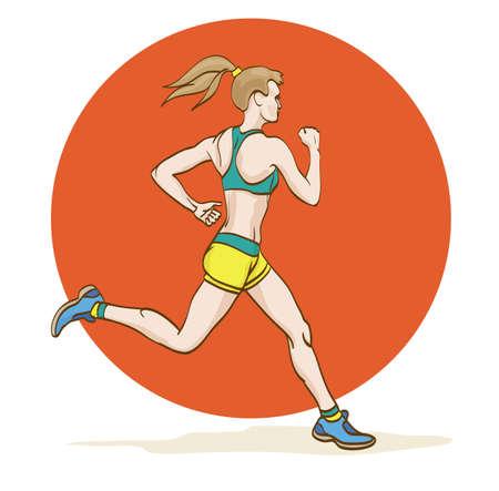 Girl jogging. Bright background. Vector illustration.