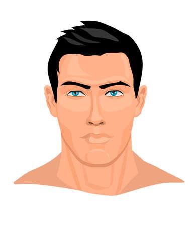 Portrait of strong man. Vector illustration. Banque d'images - 141963636