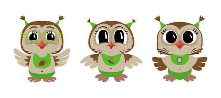Three owl babies. Vector illustration of cartoon owls.