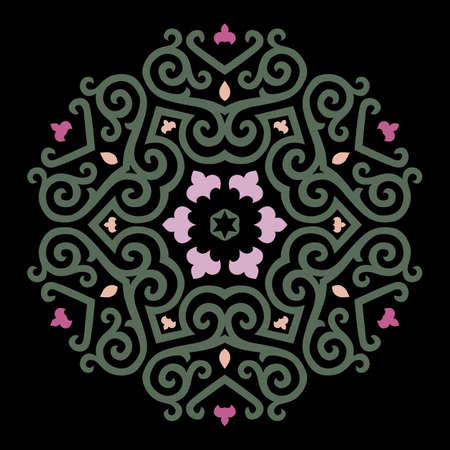 Vector Ornament With Caucasian Motifs On Black Background