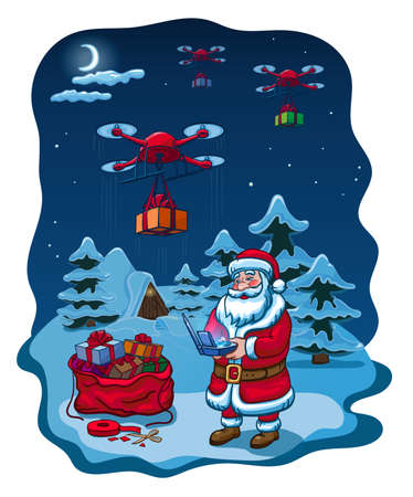 Santa Claus Hold Remove Controller Drone Delivery Present, New Year Christmas Holiday Vector Illustration