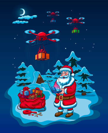 Santa Claus Hold Remove Controller Drone Delivery Present, New Year Christmas Holiday Vector Illustration Card 向量圖像