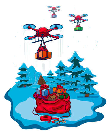Drones Delivery Presents, New Year Christmas Holiday Vector Illustration Isolated 向量圖像