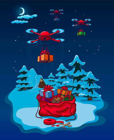 Drones Delivery Presents, New Year Christmas Holiday Vector Illustration Card