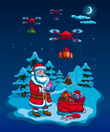 Santa Claus Hold Remove Controller Drone Delivery Presents, New Year Christmas Holiday Vector Illustration Card 向量圖像