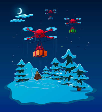 Drones Delivery Presents At Night, New Year Christmas Holiday Vector Illustration Card