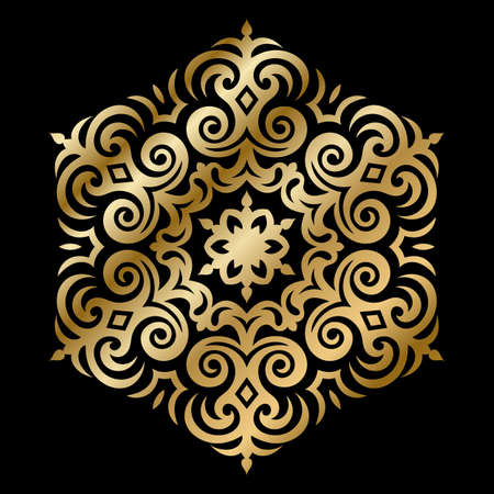 Golden Vector Ornament With Caucasian Motifs on Black Background