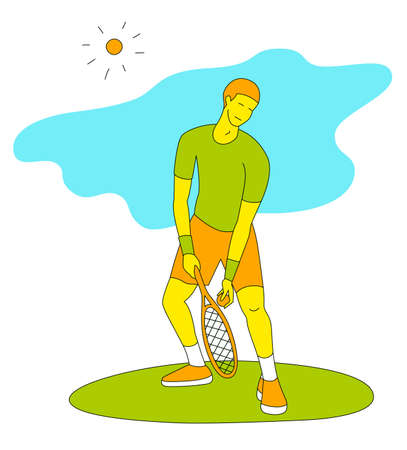 Boy playing tennis.Vector illustration in a flat style. Isolated on a white background. Sports concept.