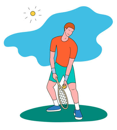 Man playing tennis.Vector illustration in a flat style. Isolated on a white background. Sports concept. 矢量图像