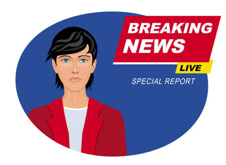 Breaking news on TV. Broadcasting journalist. Vector illustration.