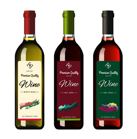 Wine bottles with labels, made in a realistic style on a white background. Three bottles. Vector illustration.