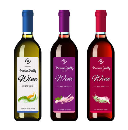 Wine bottles with labels, made in a realistic style on a white background. Three bottles. Vector illustration. Ilustração Vetorial