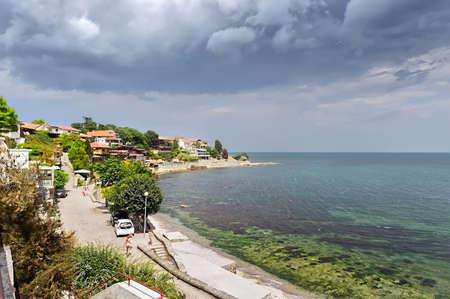 Black sea on old town background. Summer, Bulgaria Фото со стока