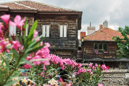 old houses and flowers in Nessebar, Bulgaria