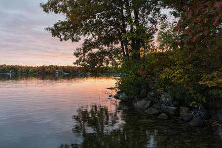 sunset over the lake, fall in Canada