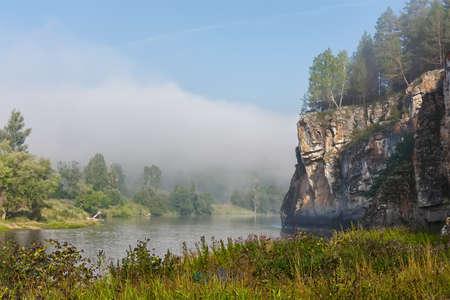 landscape with rocks near the river, autumn, Bashkiria