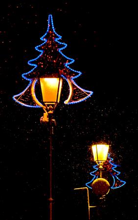 vilnius: Christmas City Lights, Vilnius, Lithuania Stock Photo
