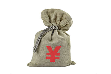 The Japanese yen, the currency symbol is applied to a textile bag filled, is a isolate. Фото со стока