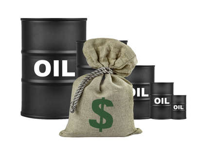 The fall in world oil prices.Grfik falls in the form of barrels of oil.Dollar, the symbol of the currency is applied to a filled textile bag on the background of the chart, isolate.