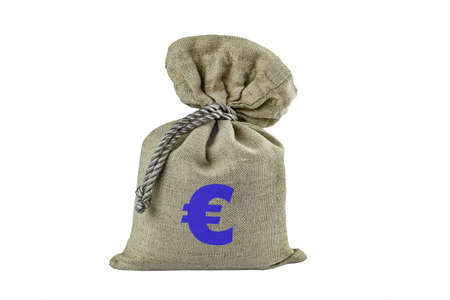 Bag with the symbol of the European currency inflicted, isolate.