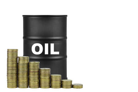 Chart of the fall in oil prices from coins against the background of a barrel of oil.
