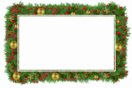 Decorative frame of spruce branches and colorful New Year's decoration around the edges.
