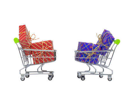 Two shopping carts with gift boxes on a white background.