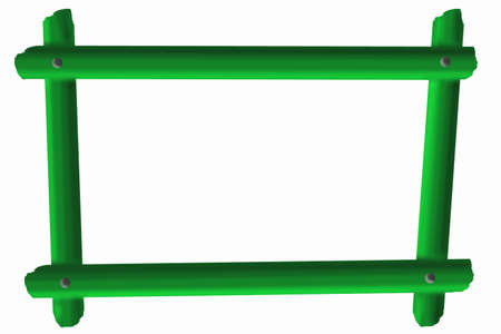 An abstract frame of four green sticks, fastened with rivets, is isolate on white. Archivio Fotografico